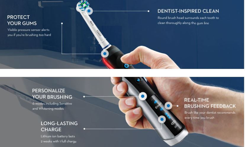oral b pro rechargeable electric toothbrush
